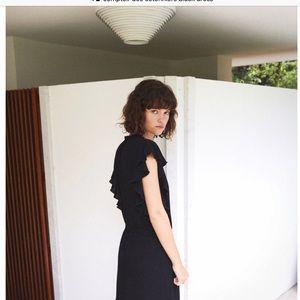 Comptoir Des Cotonniers Black Flutter Sleeve Dress